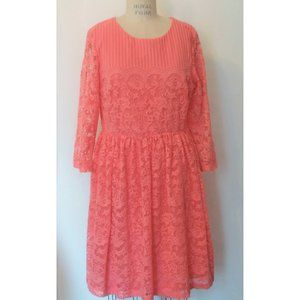 NEW H&M CORAL CHENILLE LACE FIT N FLARE DRESS L